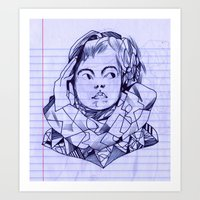 notebook Art Prints featuring notebook girl by Jordan Piantedosi