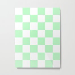 Large Checkered - White and Light Green Metal Print