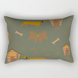 Seamless Dog Pattern with trail and doghouses Rectangular Pillow