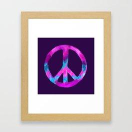 Purple Turquoise Watercolor Tie Dye Peace Sign on Purple Framed Art Print