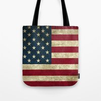 american flag Tote Bags featuring American Flag by Nechifor Ionut