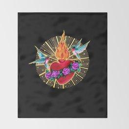 Sacred Heart Humming Birds Throw Blanket