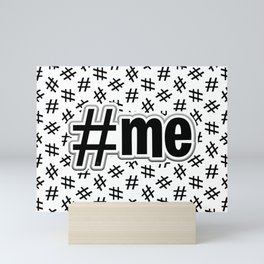 Hashtag Me Pattern (black on white version) Mini Art Print