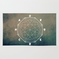 pentagram Area & Throw Rugs featuring chaos out of ord... by yuvalaltman