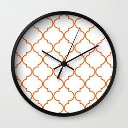 Quatrefoil - orange Wall Clock
