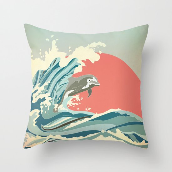 dolphin happiness Throw Pillow