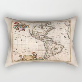 1658 Map of North America and South America with 2015 enhancements Rectangular Pillow
