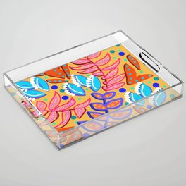 Whimsical Leaves Pattern Acrylic Tray