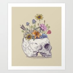 Half Skull Flowers Art Print