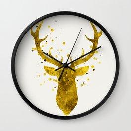 Gold Deer Wall Clock