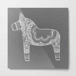 Dala Swedish Horse Grey Metal Print