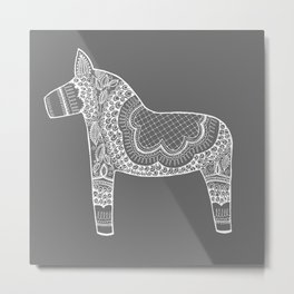 Dala Swedish Horse Grey Metal Print