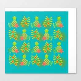 Tropical Palms, flowers and Pineapple Pattern Canvas Print