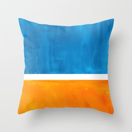 Colorful Jewel Tones Blue Gold Color Block Minimalist Watercolor Art Modern Simple Shapes Throw Pillow