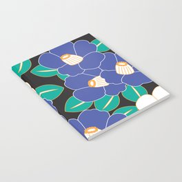 Japanese Style Camellia - Blue and Black Notebook