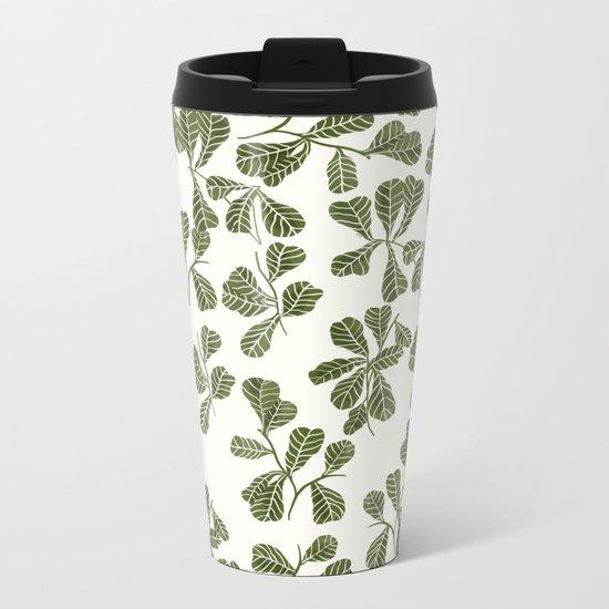 Fig Leaf Pattern Metal Travel Mug