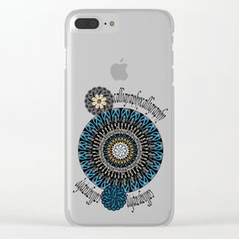 Calligraphic Boho (Blue) Clear iPhone Case