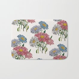 Old-fashioned illustration of China Asters Bath Mat