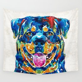 Colorful Rottie Art - Rottweiler by Sharon Cummings Wall Tapestry