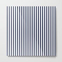 Navy Blue Vertical Stripes Metal Print