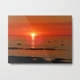 Kayaker and the Setting Sun Metal Print