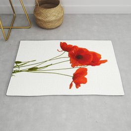 Delicate Red Poppies Vector Rug