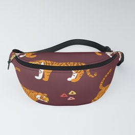 Tiger Neck Gaiter Cool Cats Maroon Background Tiger Neck Gator Fanny Pack
