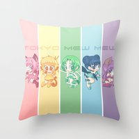 mew Throw Pillows featuring Tokyo Mew Mew by Corpse Cutie