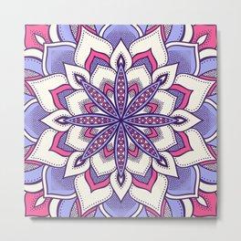 Flower Mandala Pattern Pink Lavender Metal Print