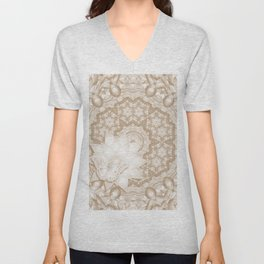 Butterfly on mandala in iced coffee tones Unisex V-Neck