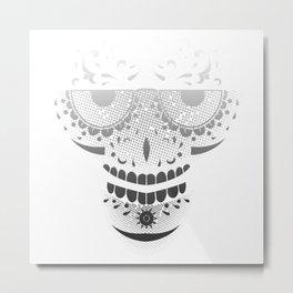 Sugar Skull - Day of the dead bw Metal Print