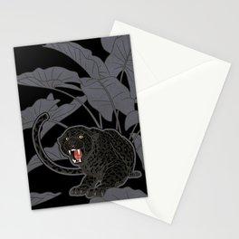 Black Panthers on Black. Stationery Cards