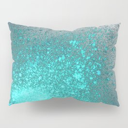 Vibrant Aqua and Grey Spray Paint Splatter Pillow Sham