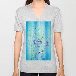Dark Blue Delphinium Soft Oil Style Unisex V-Neck
