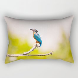 Kingfisher Bird on a Branch Rectangular Pillow