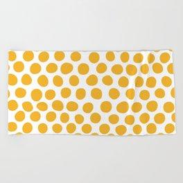 Honey Gold Dots - White Beach Towel