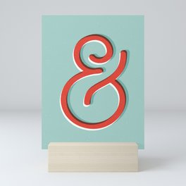 Ampersand red white and green and symbol typography design minimalist home decor wall decor Mini Art Print