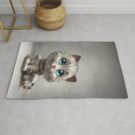 gray kitten Rug