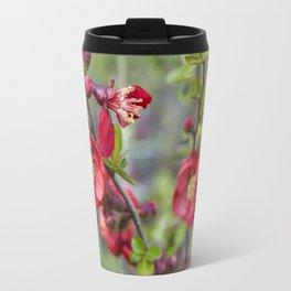 Red Quince Blossoms Travel Mug