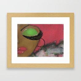 Pink and Green Sassy Girl Framed Art Print