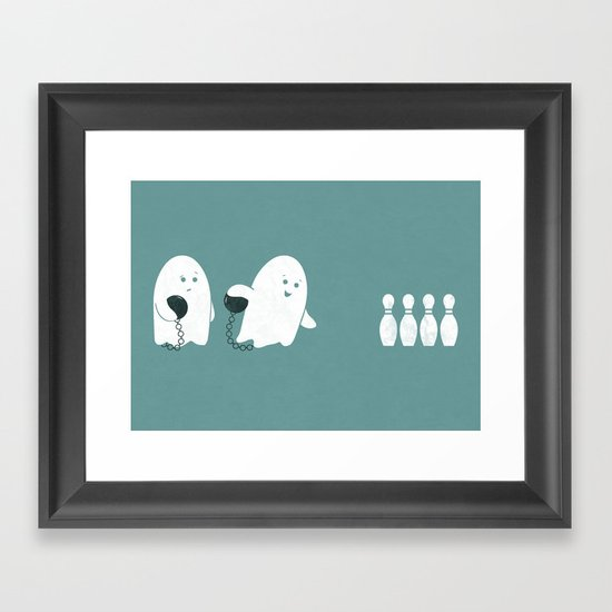 Bowling Ghost Framed Art Print