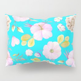 Artist hand painted pink lavender teal watercolor floral Pillow Sham