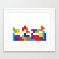 tetris Framed Art Prints featuring Tetris by Jennifer Agu