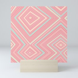 Pink, Green, Yellow, and Peach Lines - Illusion Mini Art Print