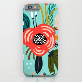 Colorful Hand Drawn Wild Flowers Print iPhone Case