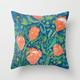 Coral Proteas on Blue Pattern Painting Throw Pillow