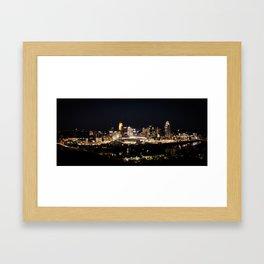 Cincinnati at night Framed Art Print