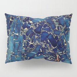 Dark blue stone marble abstract texture with gold streaks Pillow Sham
