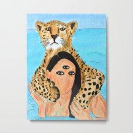 Swimming with cheetah Metal Print