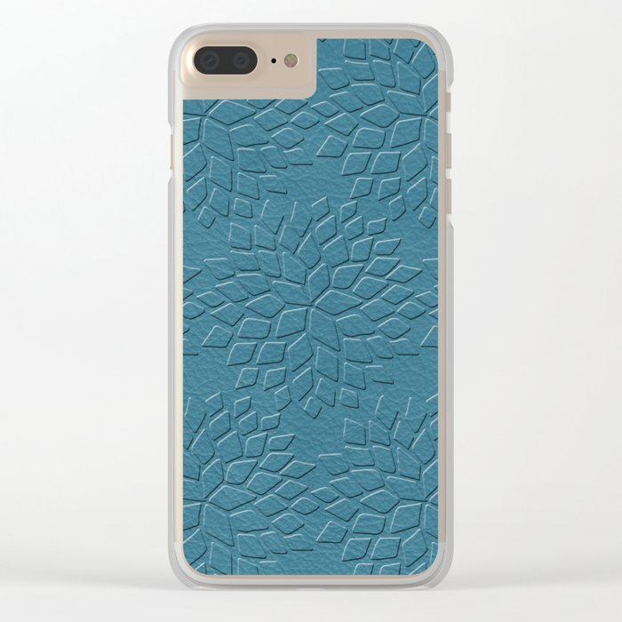 Leather Look Petal Pattern - Niagara Color Clear iPhone Case